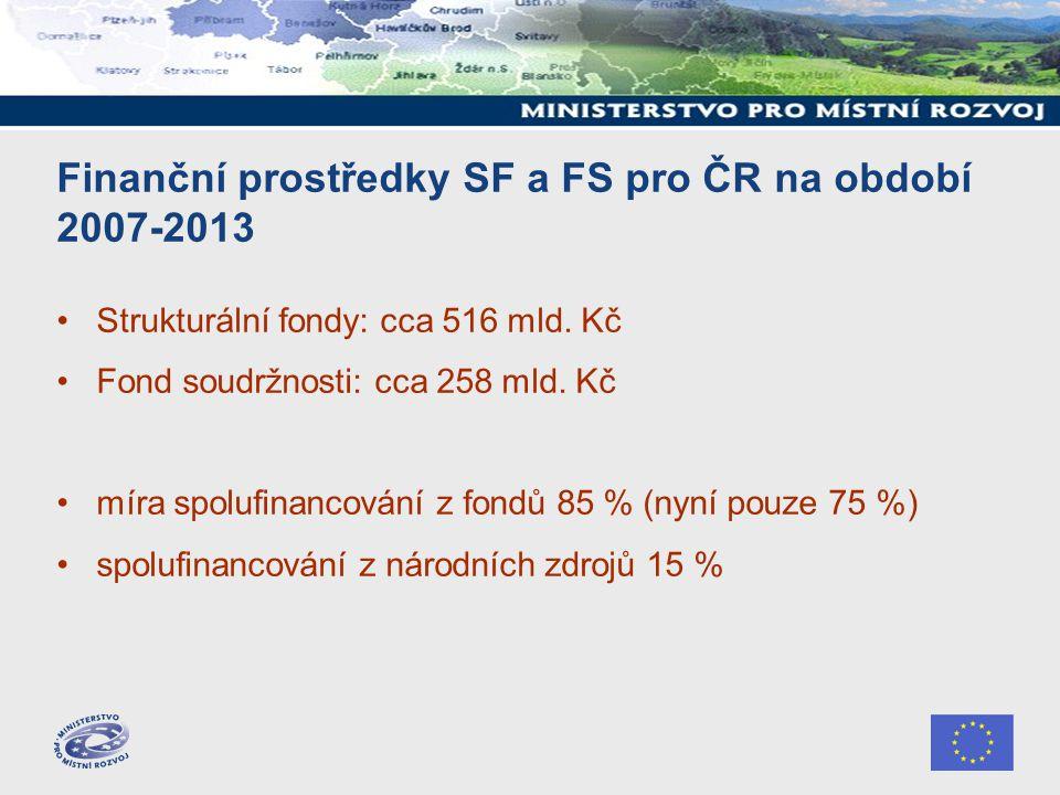 Finanční prostředky SF a FS pro ČR na období 2007-2013 Strukturální fondy: cca 516 mld.