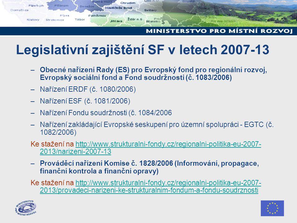 Legislativní zajištění SF v letech 2007-13 –Obecné nařízení Rady (ES) pro Evropský fond pro regionální rozvoj, Evropský sociální fond a Fond soudržnosti (č.