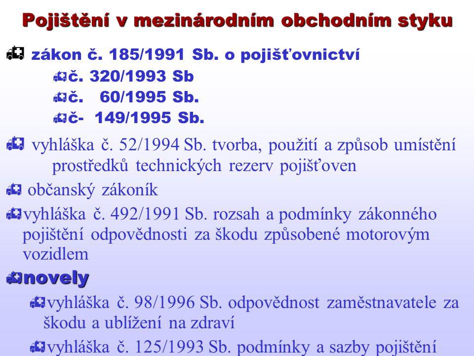 Pojištění v mezinárodním obchodním styku  zákon č. 185/1991 Sb. o pojišťovnictví  č. 320/1993 Sb  č. 60/1995 Sb.  č- 149/1995 Sb.  vyhláška č. 52