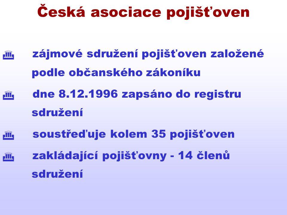 Česká asociace pojišťoven  zájmové sdružení pojišťoven založené podle občanského zákoníku  dne 8.12.1996 zapsáno do registru sdružení  soustřeďuje
