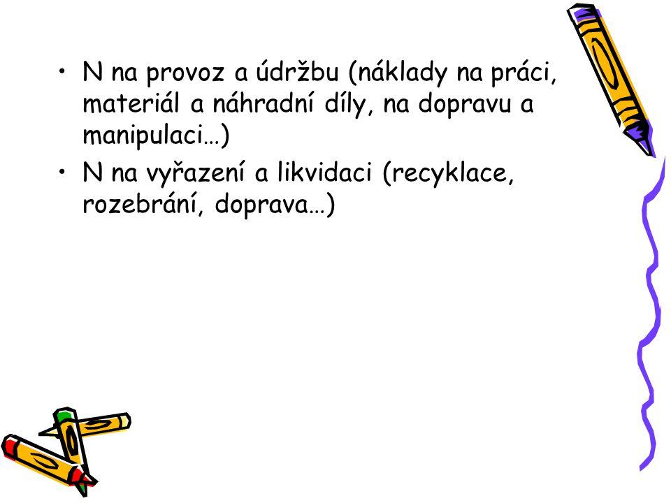 N na provoz a údržbu (náklady na práci, materiál a náhradní díly, na dopravu a manipulaci…) N na vyřazení a likvidaci (recyklace, rozebrání, doprava…)