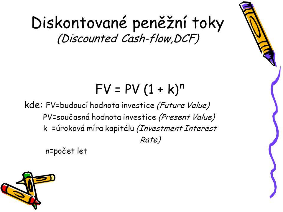 Diskontované peněžní toky (Discounted Cash-flow,DCF) FV = PV (1 + k)ⁿ kde: FV=budoucí hodnota investice (Future Value) PV=současná hodnota investice (Present Value) k =úroková míra kapitálu (Investment Interest Rate) n=počet let