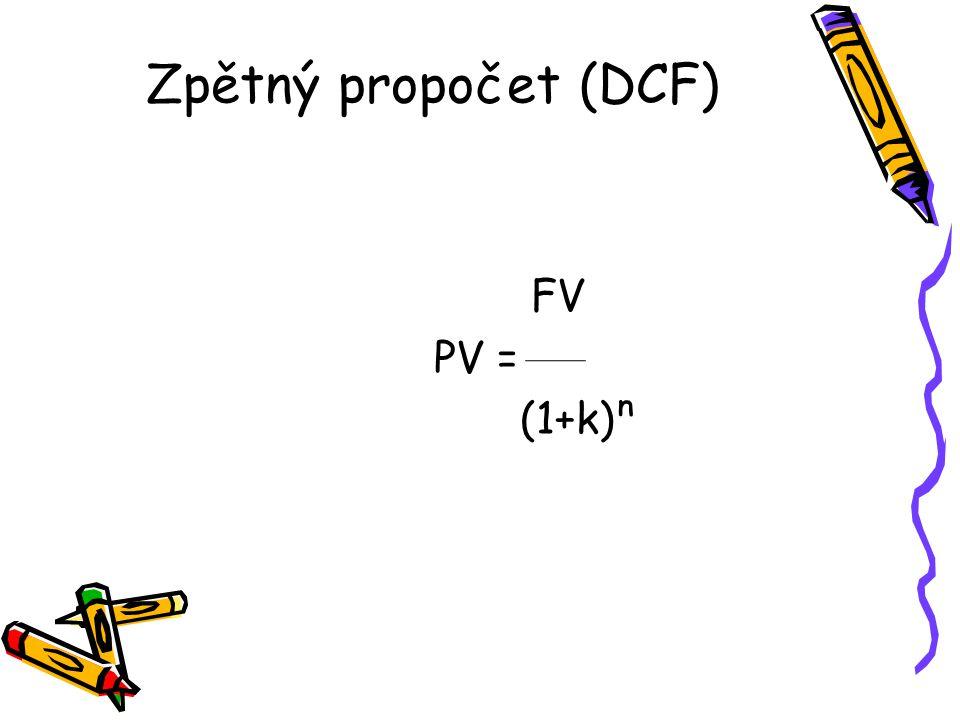 Zpětný propočet (DCF) FV PV = (1+k)ⁿ