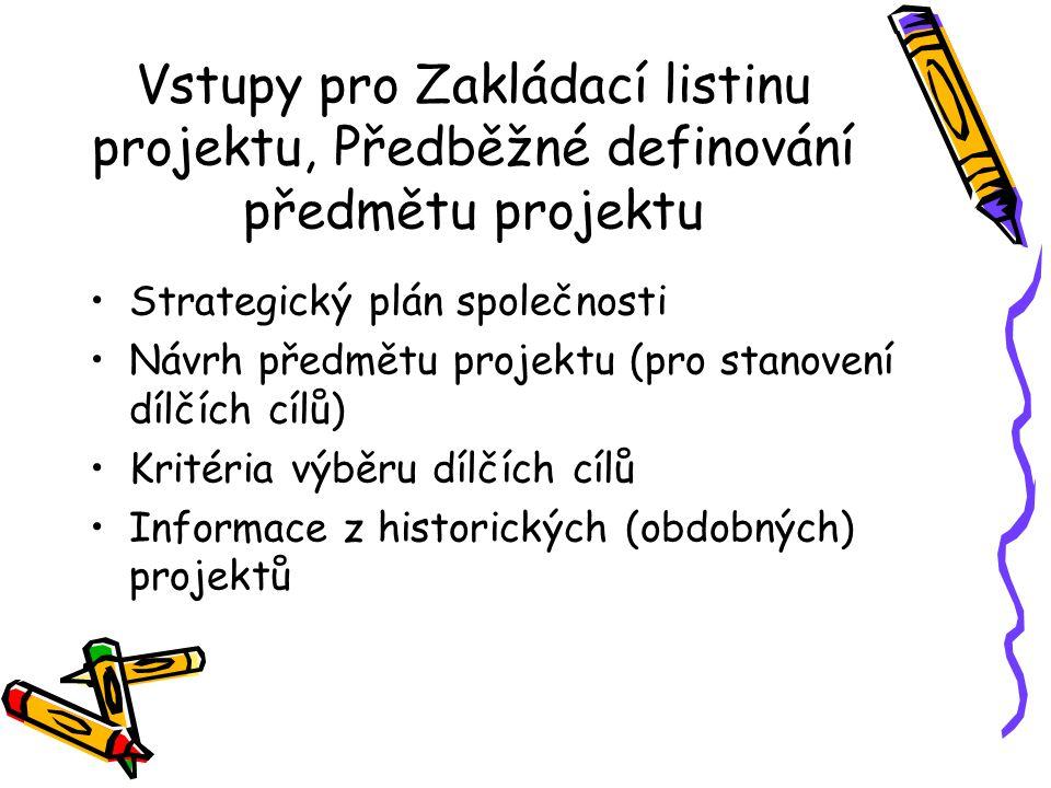 Vstupy pro Zakládací listinu projektu, Předběžné definování předmětu projektu Strategický plán společnosti Návrh předmětu projektu (pro stanovení dílčích cílů) Kritéria výběru dílčích cílů Informace z historických (obdobných) projektů