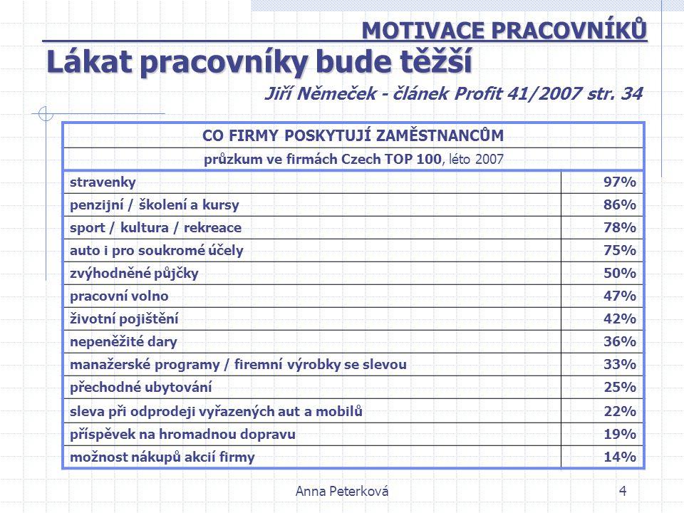 Anna Peterková4 MOTIVACE PRACOVNÍKŮ MOTIVACE PRACOVNÍKŮ Jiří Němeček - článek Profit 41/2007 str. 34 Lákat pracovníky bude těžší CO FIRMY POSKYTUJÍ ZA