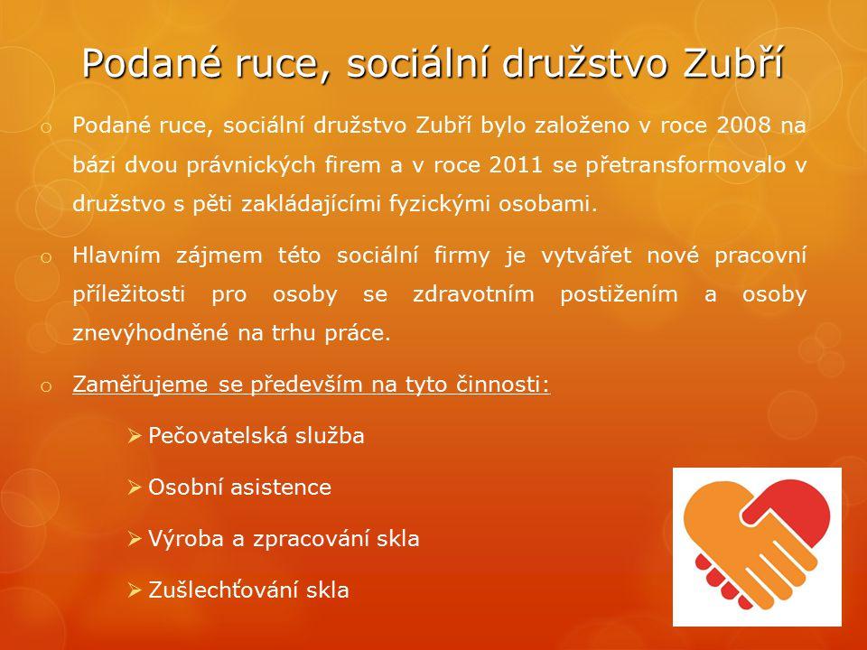 Podané ruce, sociální družstvo Zubří o Podané ruce, sociální družstvo Zubří bylo založeno v roce 2008 na bázi dvou právnických firem a v roce 2011 se přetransformovalo v družstvo s pěti zakládajícími fyzickými osobami.