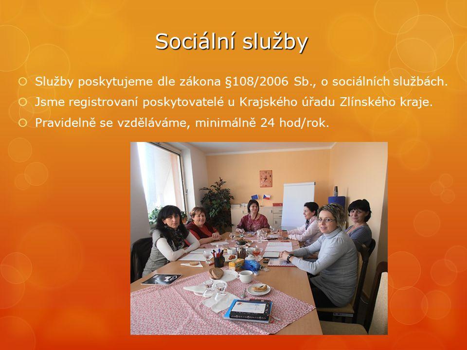 Sociální služby  Služby poskytujeme dle zákona §108/2006 Sb., o sociálních službách.  Jsme registrovaní poskytovatelé u Krajského úřadu Zlínského kr