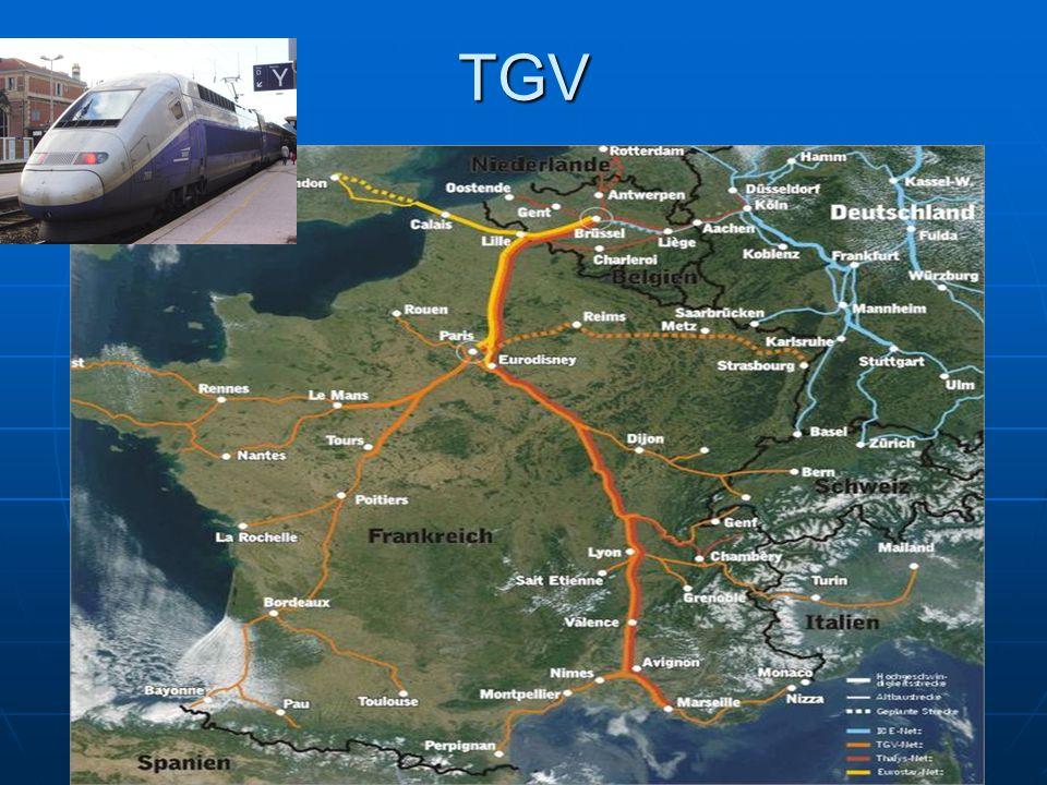 Doprava nejrozsáhlejší síť silnic a železnic (výjimka Rusko) nejrozsáhlejší síť silnic a železnic (výjimka Rusko) TGV (train á grande vitesse) -jezdí