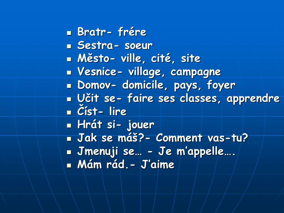 Slovníček francouzských slov Ahoj- salut Ahoj- salut Dobrý den- bonjour Dobrý den- bonjour Nashledanou- au revoir Nashledanou- au revoir Škola- écol Š