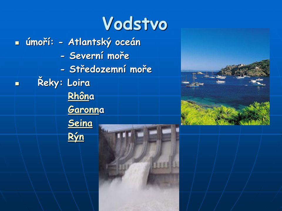 Vodstvo úmoří: - Atlantský oceán úmoří: - Atlantský oceán - Severní moře - Severní moře - Středozemní moře - Středozemní moře Řeky: Loira Řeky: Loira Rhôna RhônaRhôn Garonna GaronnaGaronn Seina SeinaSeina Rýn Rýn