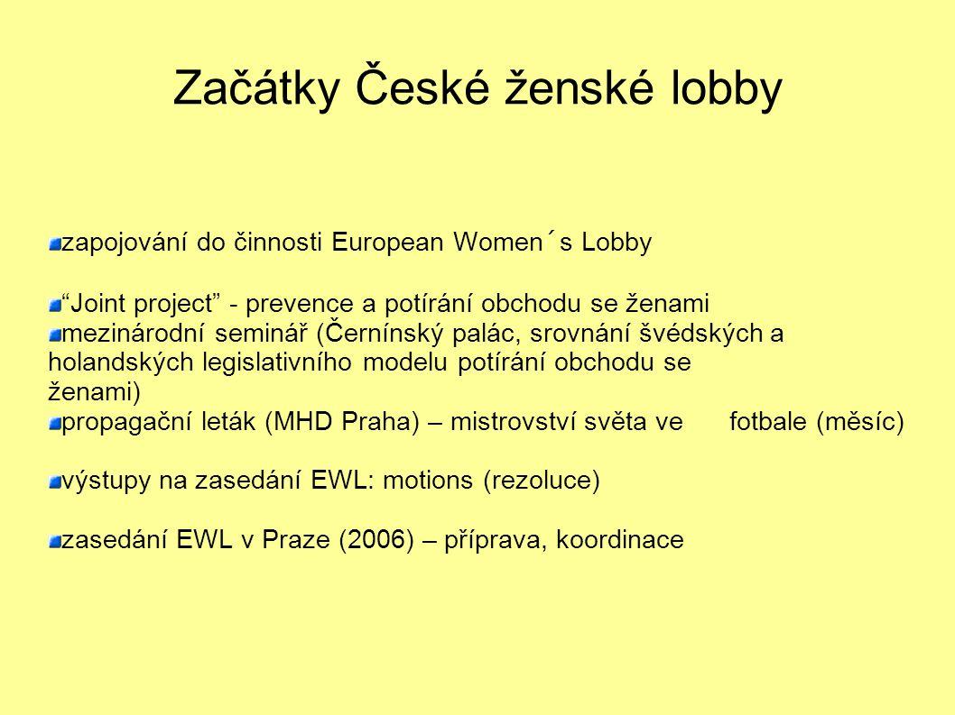 Začátky České ženské lobby zapojování do činnosti European Women´s Lobby Joint project - prevence a potírání obchodu se ženami mezinárodní seminář (Černínský palác, srovnání švédských a holandských legislativního modelu potírání obchodu se ženami) propagační leták (MHD Praha) – mistrovství světa ve fotbale (měsíc) výstupy na zasedání EWL: motions (rezoluce) zasedání EWL v Praze (2006) – příprava, koordinace
