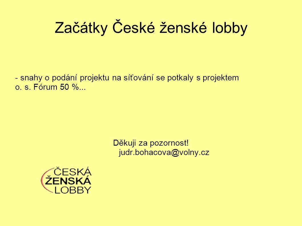 Začátky České ženské lobby - snahy o podání projektu na síťování se potkaly s projektem o.