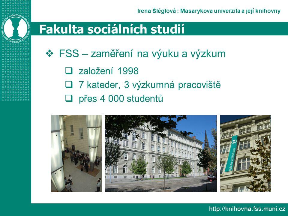 Irena Šléglová : Masarykova univerzita a její knihovny http://knihovna.fss.muni.cz Fakulta sociálních studií  FSS – zaměření na výuku a výzkum  založení 1998  7 kateder, 3 výzkumná pracoviště  přes 4 000 studentů