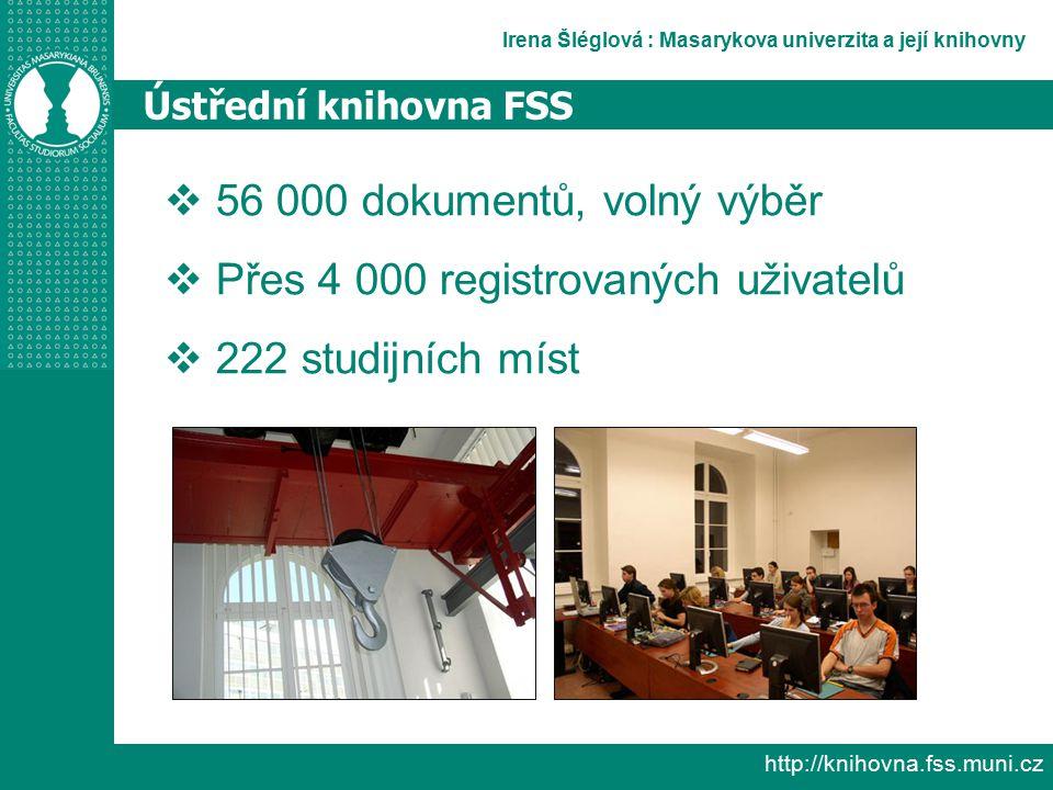 Irena Šléglová : Masarykova univerzita a její knihovny http://knihovna.fss.muni.cz Ústřední knihovna FSS  56 000 dokumentů, volný výběr  Přes 4 000 registrovaných uživatelů  222 studijních míst