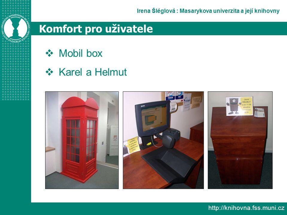 Irena Šléglová : Masarykova univerzita a její knihovny http://knihovna.fss.muni.cz Komfort pro uživatele  Mobil box  Karel a Helmut