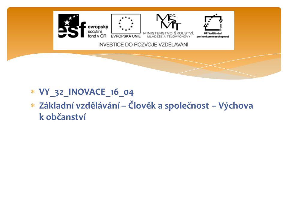  VY_32_INOVACE_16_04  Základní vzdělávání – Člověk a společnost – Výchova k občanství