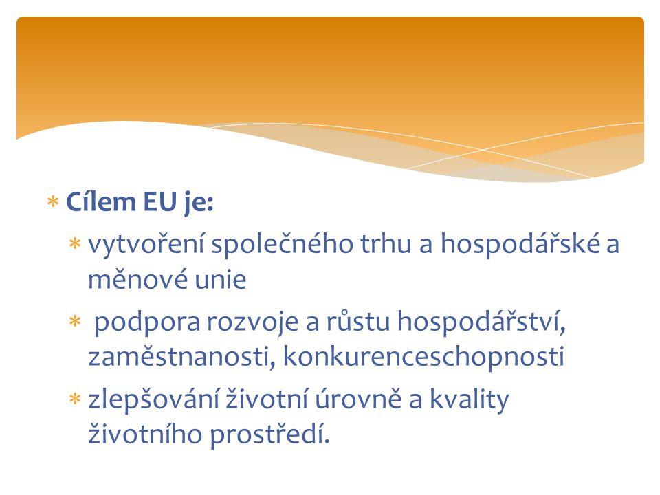  Cílem EU je:  vytvoření společného trhu a hospodářské a měnové unie  podpora rozvoje a růstu hospodářství, zaměstnanosti, konkurenceschopnosti  zlepšování životní úrovně a kvality životního prostředí.