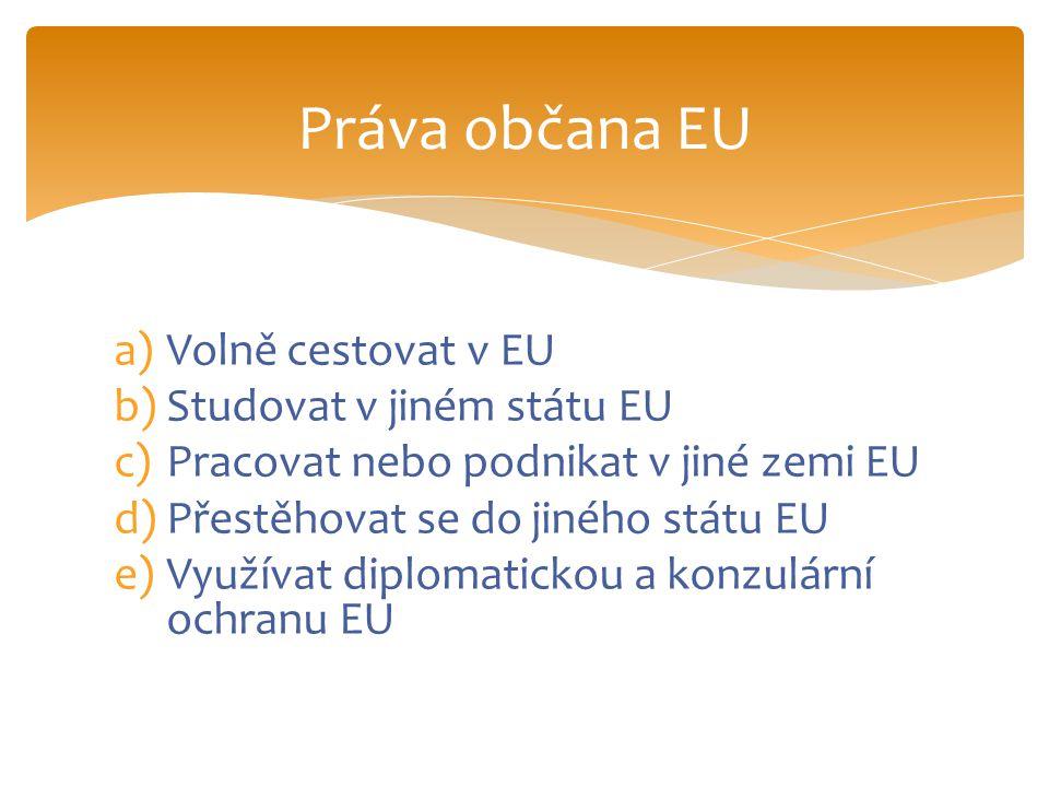 f)Odvolávat se k Evropskému parlamentu nebo k evropskému ombudsmanovi g)Volit a být volen v evropských nebo místních volbách v zemi pobytu kdekoliv v EU