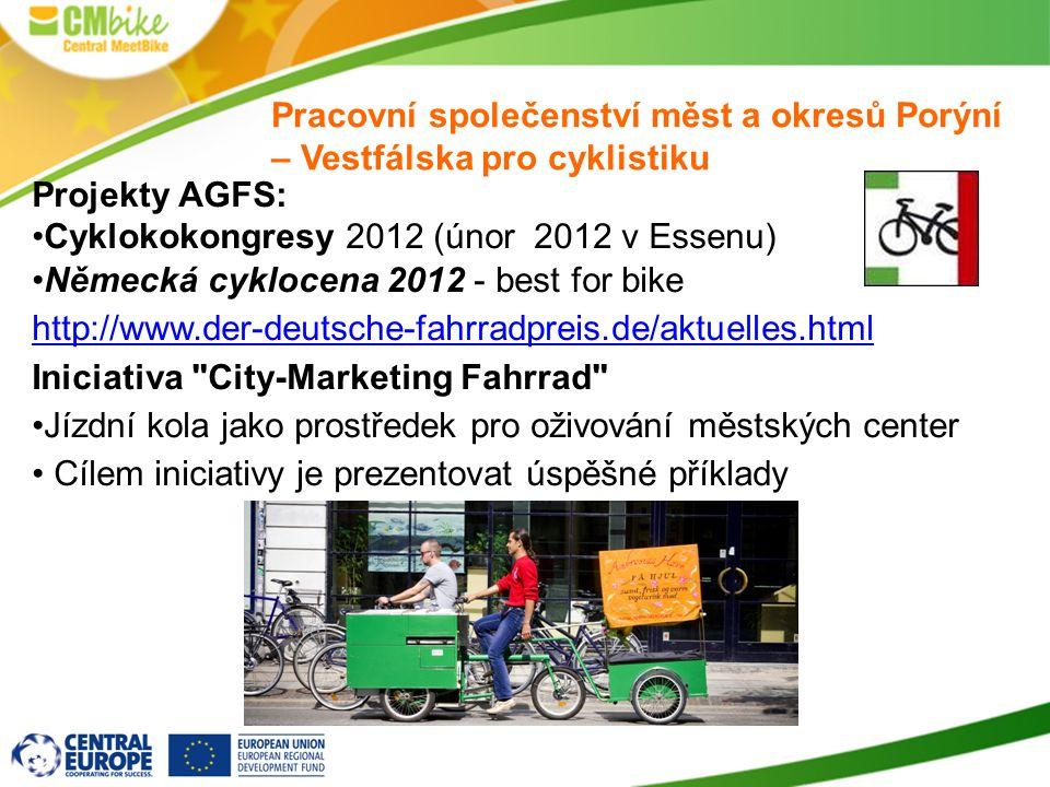 Projekty AGFS: Cyklokokongresy 2012 (únor 2012 v Essenu) Německá cyklocena 2012 - best for bike http://www.der-deutsche-fahrradpreis.de/aktuelles.html Iniciativa City-Marketing Fahrrad Jízdní kola jako prostředek pro oživování městských center Cílem iniciativy je prezentovat úspěšné příklady Pracovní společenství měst a okresů Porýní – Vestfálska pro cyklistiku