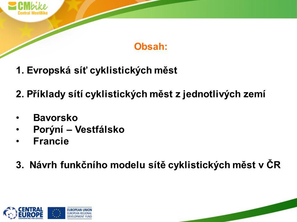 Obsah: 1. Evropská síť cyklistických měst 2. Příklady sítí cyklistických měst z jednotlivých zemí Bavorsko Porýní – Vestfálsko Francie 3. Návrh funkčn