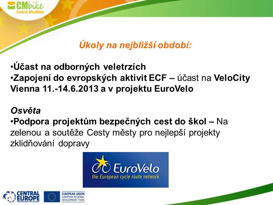 Úkoly na nejbližší období: Účast na odborných veletrzích Zapojení do evropských aktivit ECF – účast na VeloCity Vienna 11.-14.6.2013 a v projektu Euro