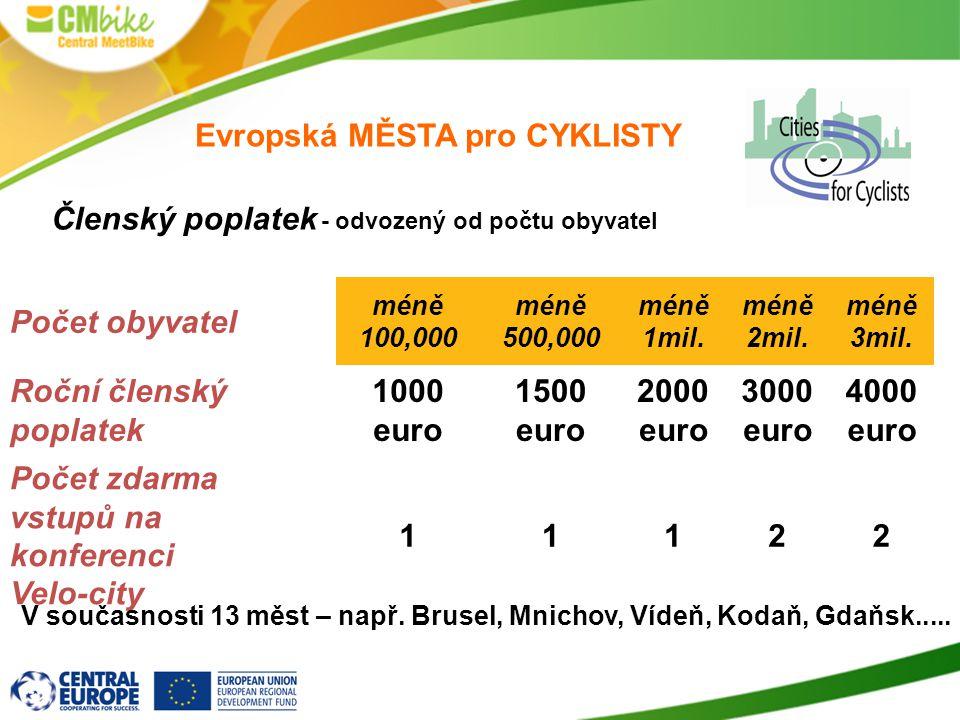 Evropská MĚSTA pro CYKLISTY Počet obyvatel méně 100,000 méně 500,000 méně 1mil. méně 2mil. méně 3mil. Roční členský poplatek 1000 euro 1500 euro 2000