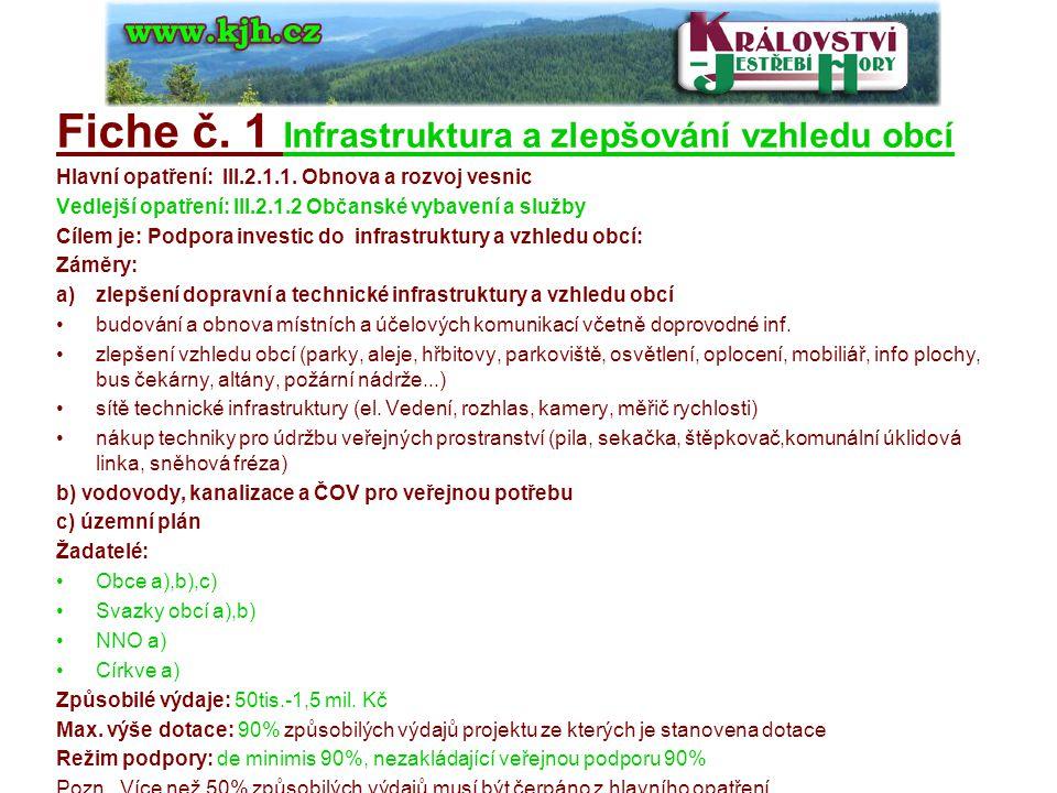 Fiche č. 1 Infrastruktura a zlepšování vzhledu obcí Hlavní opatření: III.2.1.1.
