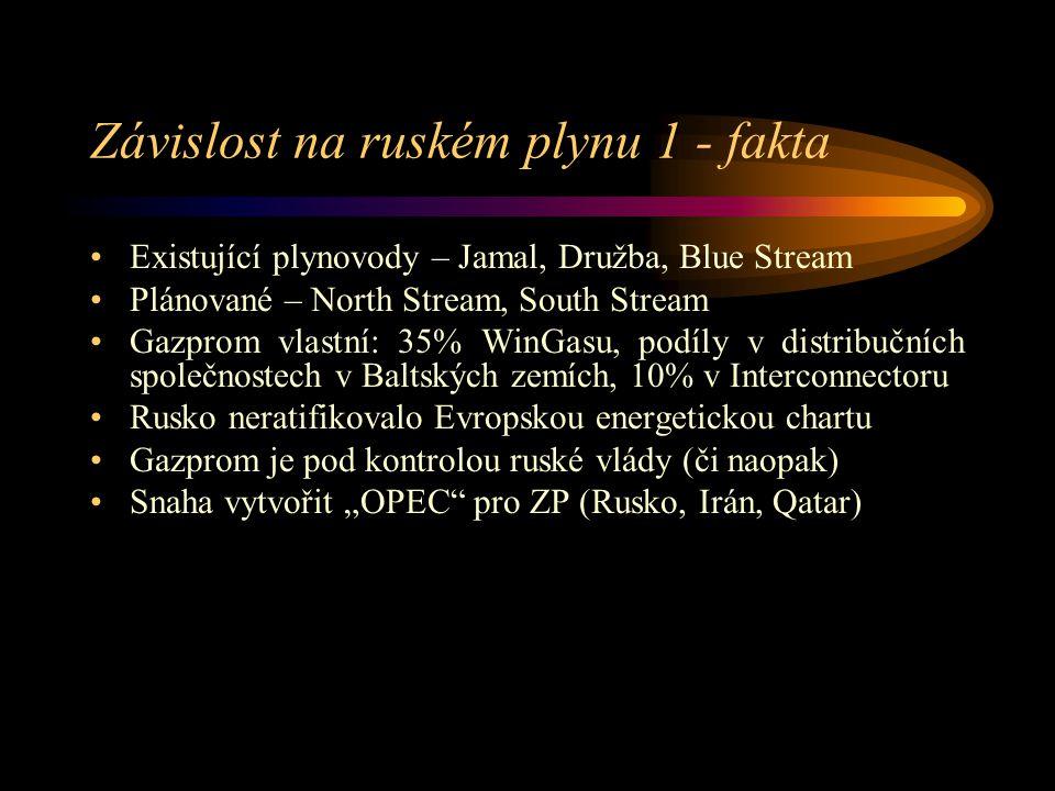 """Závislost na ruském plynu 1 - fakta Existující plynovody – Jamal, Družba, Blue Stream Plánované – North Stream, South Stream Gazprom vlastní: 35% WinGasu, podíly v distribučních společnostech v Baltských zemích, 10% v Interconnectoru Rusko neratifikovalo Evropskou energetickou chartu Gazprom je pod kontrolou ruské vlády (či naopak) Snaha vytvořit """"OPEC pro ZP (Rusko, Irán, Qatar)"""