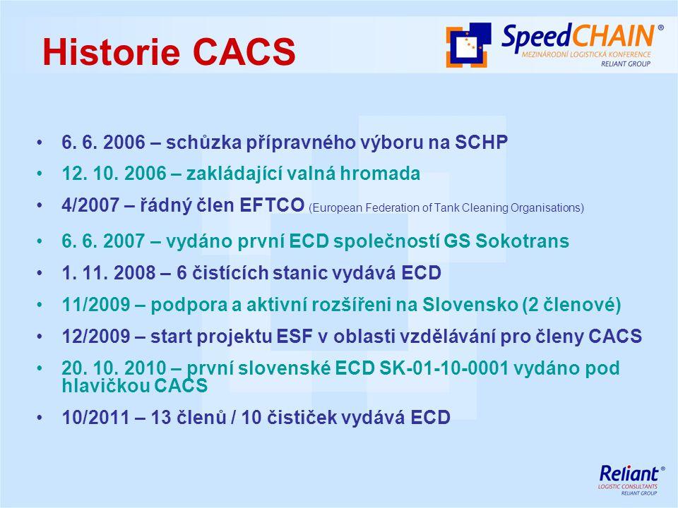 Historie CACS 6. 6. 2006 – schůzka přípravného výboru na SCHP 12. 10. 2006 – zakládající valná hromada 4/2007 – řádný člen EFTCO (European Federation