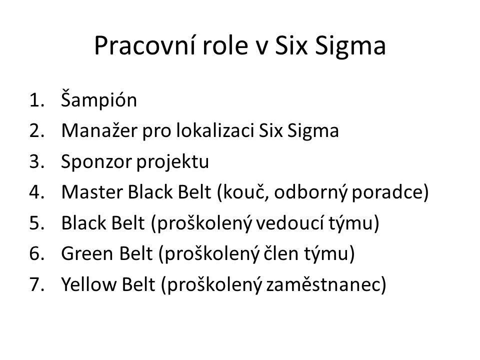 Pracovní role v Six Sigma 1.Šampión 2.Manažer pro lokalizaci Six Sigma 3.Sponzor projektu 4.Master Black Belt (kouč, odborný poradce) 5.Black Belt (pr