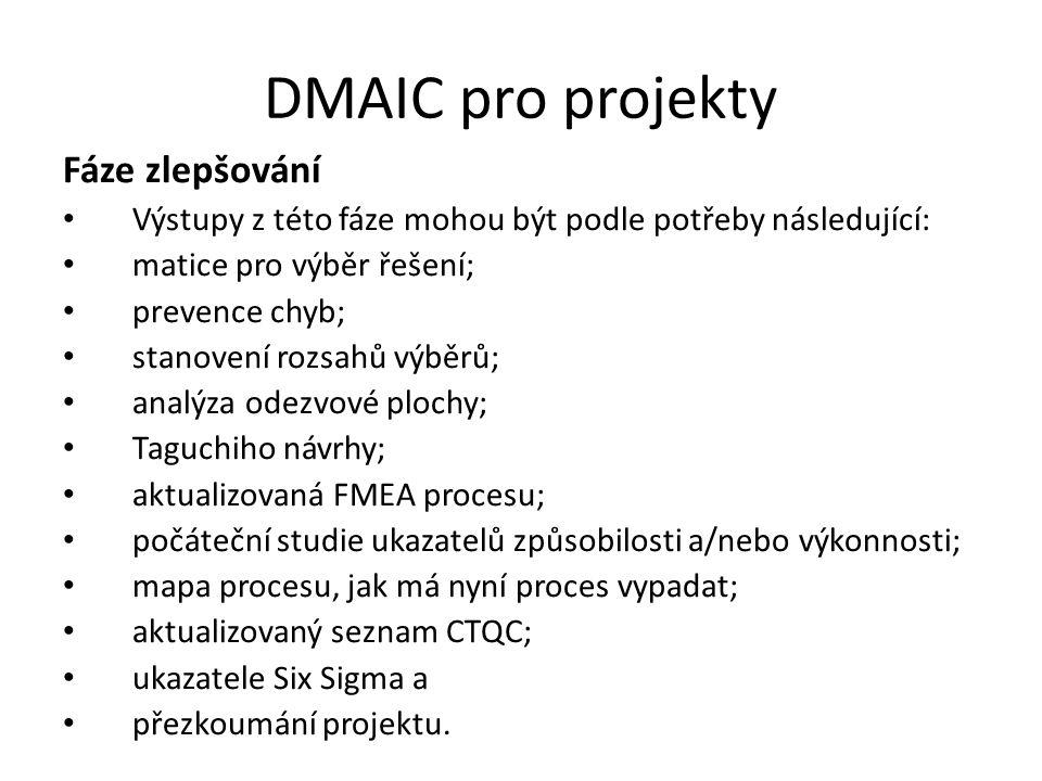 DMAIC pro projekty Fáze zlepšování Výstupy z této fáze mohou být podle potřeby následující: matice pro výběr řešení; prevence chyb; stanovení rozsahů