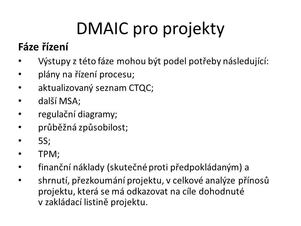 DMAIC pro projekty Fáze řízení Výstupy z této fáze mohou být podel potřeby následující: plány na řízení procesu; aktualizovaný seznam CTQC; další MSA;