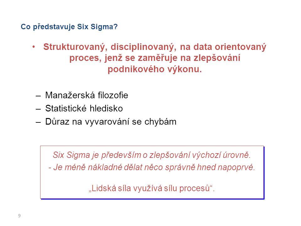 9 Co představuje Six Sigma? Strukturovaný, disciplinovaný, na data orientovaný proces, jenž se zaměřuje na zlepšování podnikového výkonu. –Manažerská