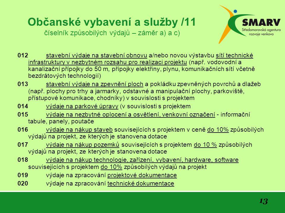 13 Občanské vybavení a služby /11 číselník způsobilých výdajů – záměr a) a c) 012 stavební výdaje na stavební obnovu a/nebo novou výstavbu sítí techni