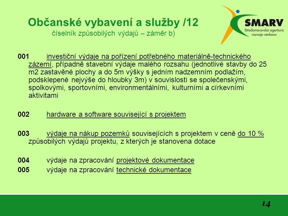 14 Občanské vybavení a služby /12 číselník způsobilých výdajů – záměr b) 001 investiční výdaje na pořízení potřebného materiálně-technického zázemí, p