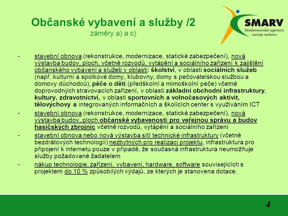 4 Občanské vybavení a služby /2 záměry a) a c) -stavební obnova (rekonstrukce, modernizace, statické zabezpečení), nová výstavba budov, ploch, včetně