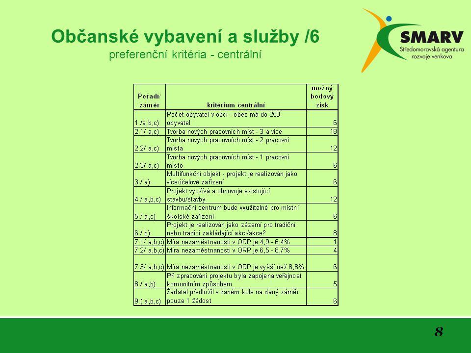 8 Občanské vybavení a služby /6 preferenční kritéria - centrální