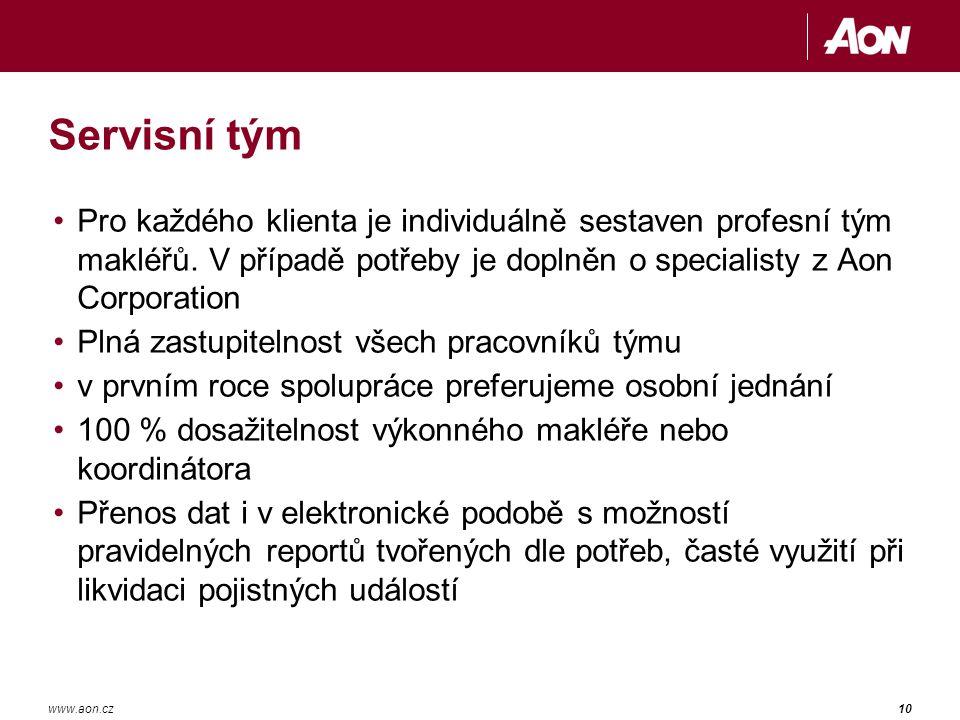 10www.aon.cz Servisní tým Pro každého klienta je individuálně sestaven profesní tým makléřů.