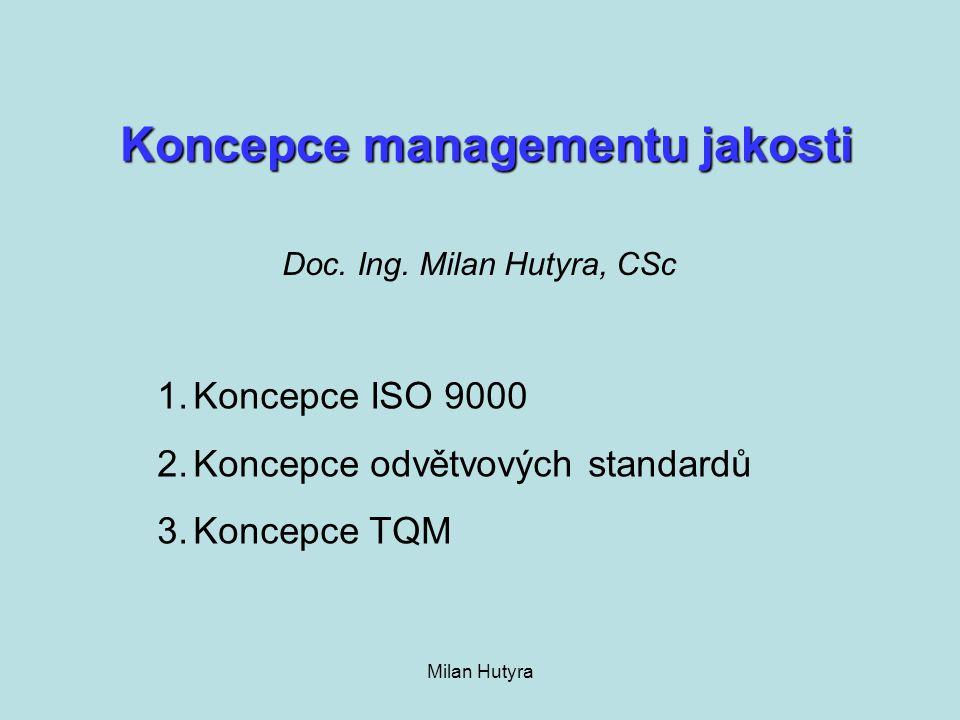 Milan Hutyra Přehled standardů pro dodavatele automobilového průmyslu QS 9000 (GM, Ford, Daimler-Chrysler) VDA 6.1.