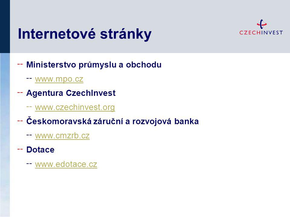 Internetové stránky ╌ Ministerstvo průmyslu a obchodu ╌ www.mpo.cz www.mpo.cz ╌ Agentura CzechInvest ╌ www.czechinvest.org ╌ Českomoravská záruční a r