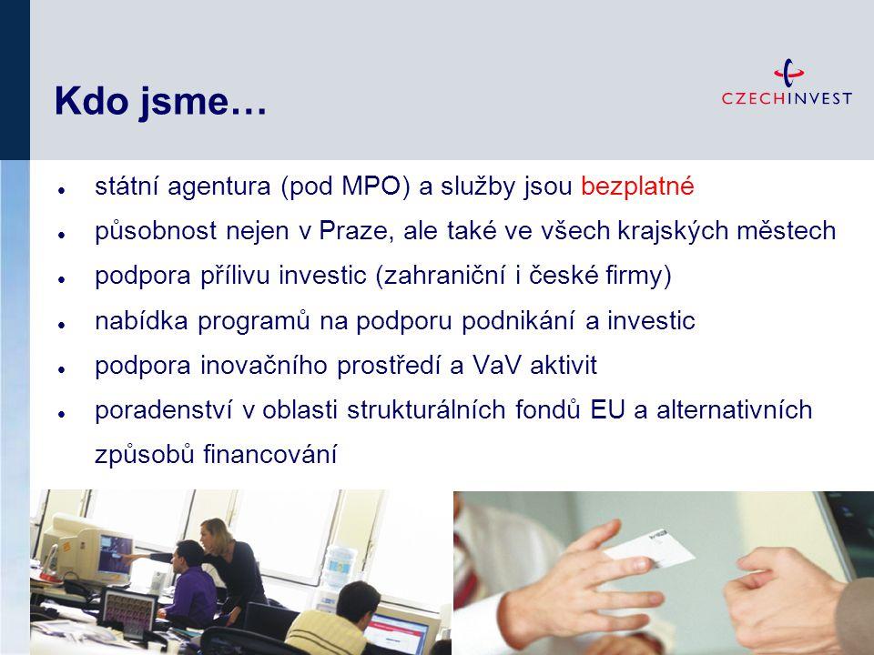 Kdo jsme… státní agentura (pod MPO) a služby jsou bezplatné působnost nejen v Praze, ale také ve všech krajských městech podpora přílivu investic (zah
