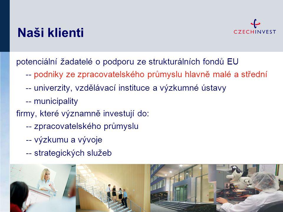 Naši klienti potenciální žadatelé o podporu ze strukturálních fondů EU -- podniky ze zpracovatelského průmyslu hlavně malé a střední -- univerzity, vz