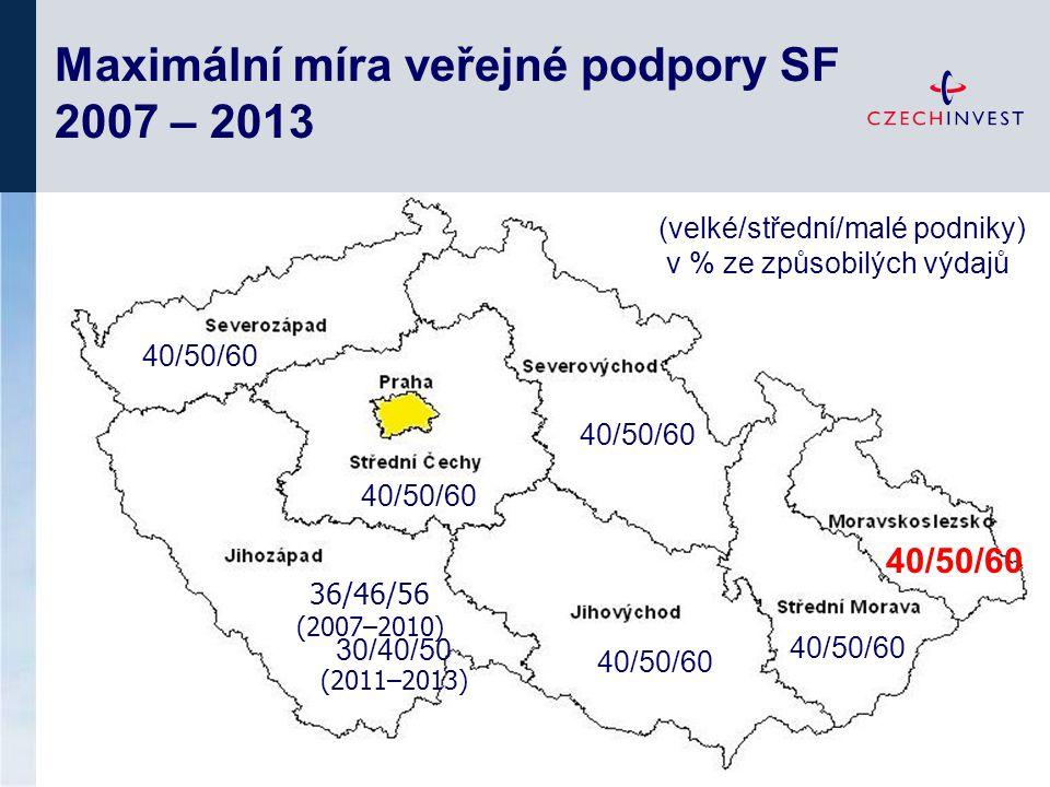 Maximální míra veřejné podpory SF 2007 – 2013 30/40/50 (2011–2013) 40/50/60 36/46/56 (2007–2010) (velké/střední/malé podniky) v % ze způsobilých výdajů