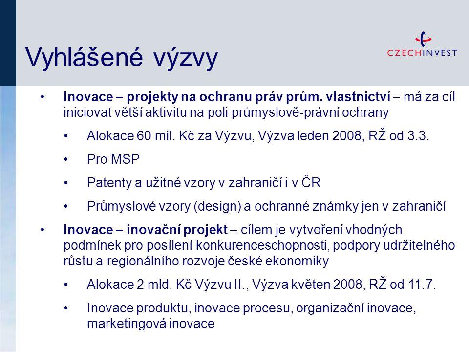 Vyhlášené výzvy Inovace – projekty na ochranu práv prům.