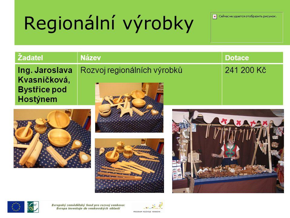 Regionální výrobky ŽadatelNázevDotace Ing. Jaroslava Kvasničková, Bystřice pod Hostýnem Rozvoj regionálních výrobků241 200 Kč
