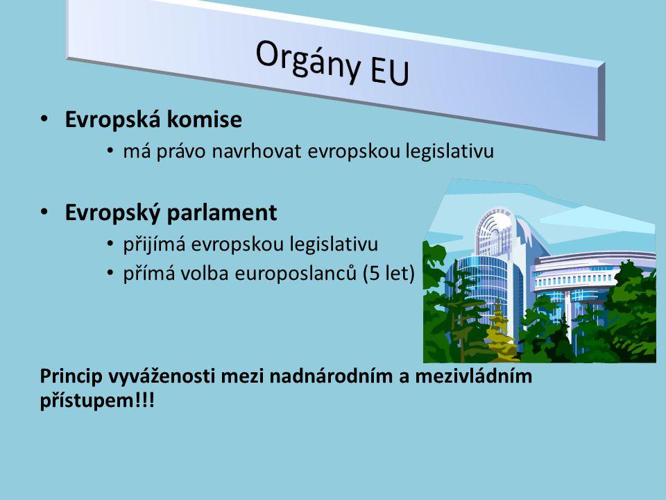 Evropská komise má právo navrhovat evropskou legislativu Evropský parlament přijímá evropskou legislativu přímá volba europoslanců (5 let) Princip vyváženosti mezi nadnárodním a mezivládním přístupem!!!