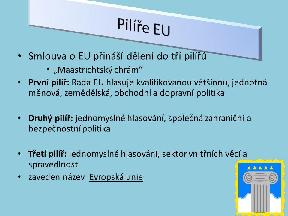 """Smlouva o EU přináší dělení do tří pilířů """"Maastrichtský chrám První pilíř: Rada EU hlasuje kvalifikovanou většinou, jednotná měnová, zemědělská, obchodní a dopravní politika Druhý pilíř: jednomyslné hlasování, společná zahraniční a bezpečnostní politika Třetí pilíř: jednomyslné hlasování, sektor vnitřních věcí a spravedlnost zaveden název Evropská unie"""