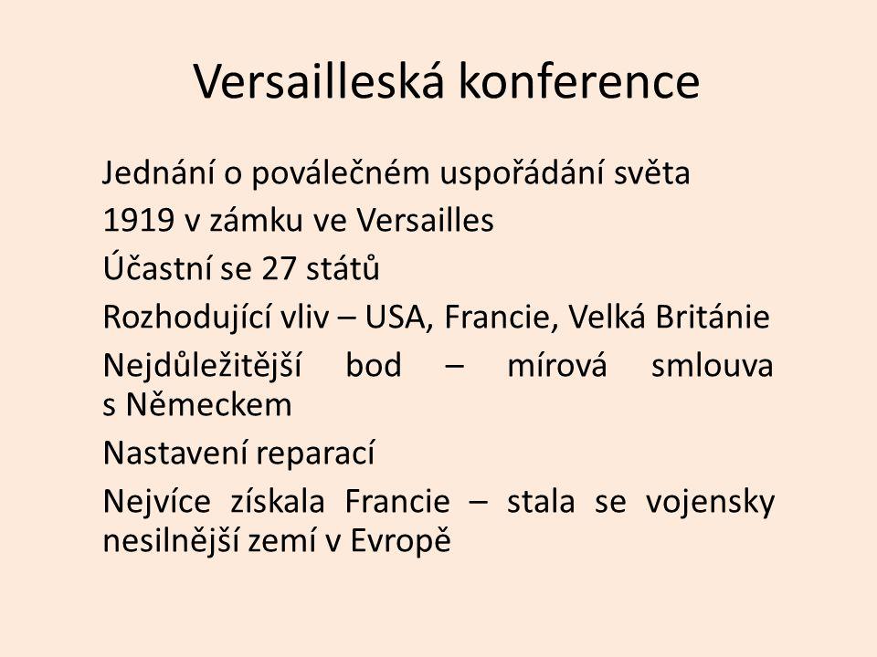 Versailleská konference Jednání o poválečném uspořádání světa 1919 v zámku ve Versailles Účastní se 27 států Rozhodující vliv – USA, Francie, Velká Británie Nejdůležitější bod – mírová smlouva s Německem Nastavení reparací Nejvíce získala Francie – stala se vojensky nesilnější zemí v Evropě