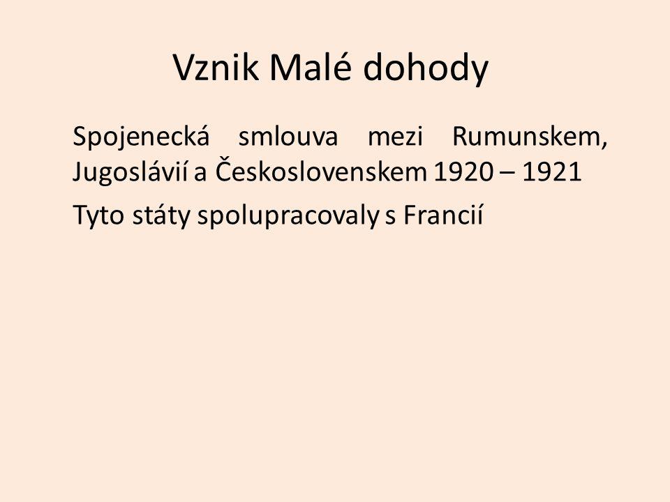 Vznik Malé dohody Spojenecká smlouva mezi Rumunskem, Jugoslávií a Československem 1920 – 1921 Tyto státy spolupracovaly s Francií