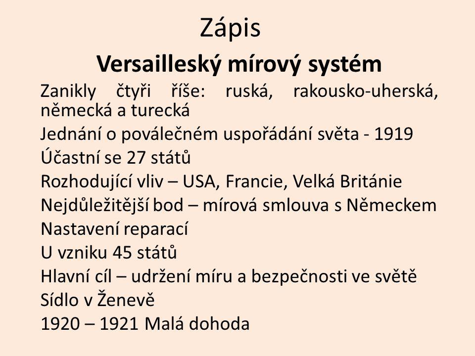 Zápis Versailleský mírový systém Zanikly čtyři říše: ruská, rakousko-uherská, německá a turecká Jednání o poválečném uspořádání světa - 1919 Účastní s